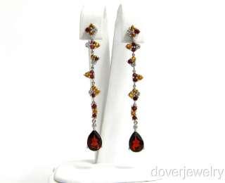 00ct Diamond 10K Gold Garnet Yellow Citrine Long Earrings NR