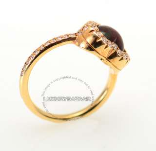 Dior 18K Yellow Gold Diamond & Garnet Heart Ring