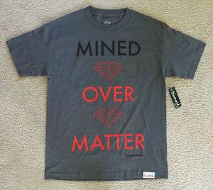 NWT Diamond Supply Co. Mined Over Matter Chargoal Gray T shirts for