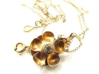 Vintage Gold Filled Rose Flower Pendant Necklace*AMCO