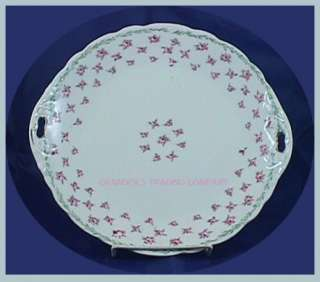 KPM Germany Double Handled 10 Cake Plate Pink Roses