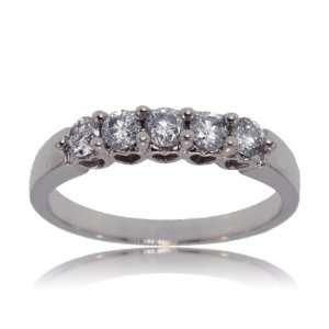 Anniversary Ring 10K White Gold Heart Band New GEMaffair Jewelry