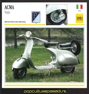 1951 ACMA Vespa Scooter Bike MOTORCYCLE ATLAS SPEC CARD