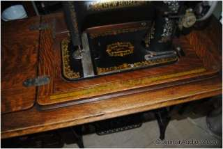 Antique New Home Light Running Sewing Machine & Cabinet