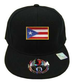 Puerto Rico Black Flag Country Embroidery Embroided Flat Fitted Cap