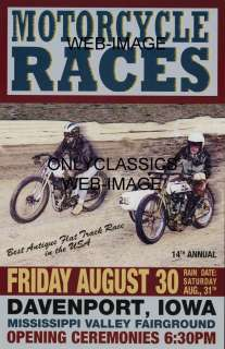 MOTORCYCLE RACING POSTER HARLEY DAVIDSON SIDECAR RACES
