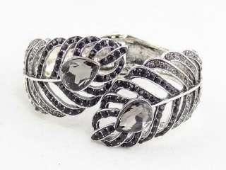 Diamond Jet Swarovski Crystal Antique Silver Feather Bangle Bracelet