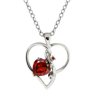 91 Ct Genuine Heart Shape Red Garnet Gemstone Sterling Silver