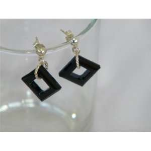 Black Swarovski Crystal Dangle Earrings NEW Everything