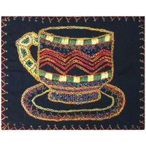 Teacup African Design Quilt Block African Folklore Embroider 8x8