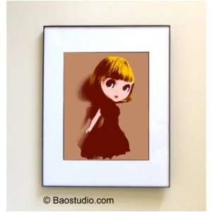 Blythe Doll (Sand Burgundy)  Framed Pop Art By Jbao (Signed Dated
