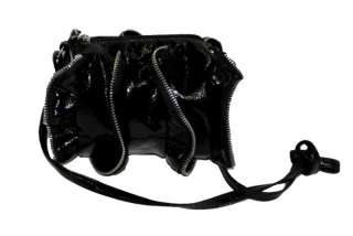 NEW STEVE MADDEN RUFFLE BLACK PATENT CROSSBODY MINI BAG
