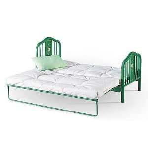 American Girl Doll Green Metal Trundle Bed with Mattress   for 1 or 2