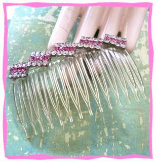 Vintage Pink & Clear Rhinestone Hair Comb