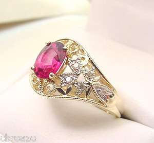 PINKISH RED NATURAL RUBELLITE TOURMALINE & DIAMONDS 10K GOLD RING