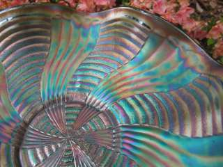 Antique FENTON RAINBOW GREEN CARNIVAL GLASS BOWL RIBBON TIE COMET