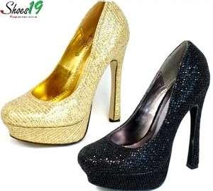 Sexy Shinny Glitter Platform Pump High Heel Women Shoes