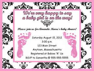 Girl Pink Feet Damask Print Baby Shower Invitations