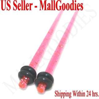 1070 Hot Pink Glitter Stretchers Tapers 12G 12 Gauge 2mm