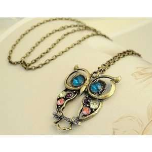 Rhinestone Owl Charm Necklace Pendant With Chain