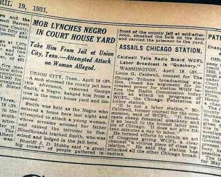 UNION CITY TN Negro Lynching Hanging 1931 Old Newspaper