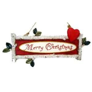 Kurt Adler 10 1/2 Inch Resin Birch Twig Merry Christmas Sign