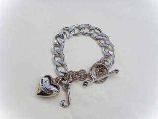 NEW Juicy Couture Gold Silver Starter Heart Charm Bracelet W/ Gift Box