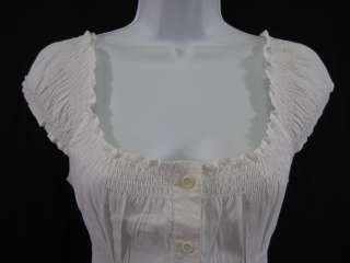 THEORY White Cap Sleeve Button Down Blouse Sz P