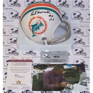 Earl Morrall Autographed/Hand Signed Dolphins 2 Bar Mini Helmet