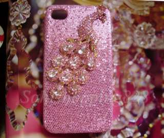Diamond Peacock 3D Bling Hard Case Cover iPhone 4 4G B