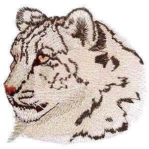 Rare Snow Leopard Head Big Wild Cat Iron on Patch