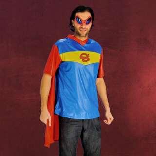 Super Hero (Superman?)Fun Shirt mit Cape, lustiges Superhelden T Shirt