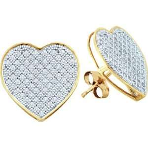 0.10ctw Round Diamond Micro Pave Heart Earrings Jewelry