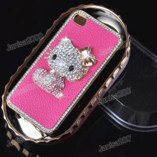 Luxury Hello Kitty Diamond Crystal Leather Plating Hard Case Cover F