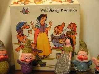 Vintage Disney Snow White & 7 Dwarves Ornament Set