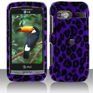 LG Vu Plus GR700 Purple/Black Leopard Hard Case Snap on