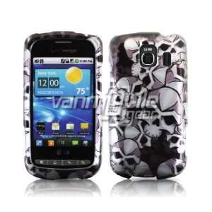 SILVER BLACK SKULLS DESIGN CASE COVER + LCD SCREEN PROTECTOR for LG