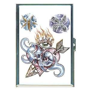Tattoo Skull Heart Eye Flame ID Holder, Cigarette Case or Wallet: MADE