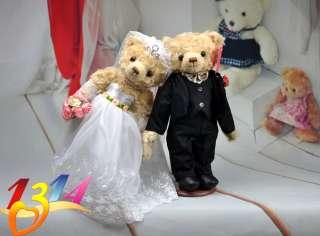 WEDDING GIFT PAIR LOVER MARRY TEDDY BEAR DOLL TOY 14H