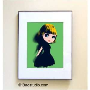 Blythe Doll (Green Navy)  Framed Pop Art By Jbao (Signed