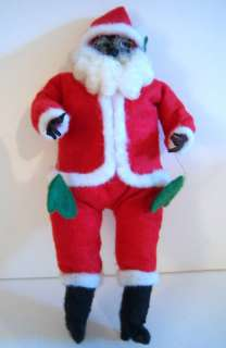 Vtg Santa Claus Soft Figural Face Hands Red CUTE