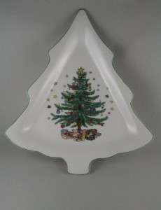 Nikko China Happy Holidays Large Christmas Tree Shaped Dish Plate