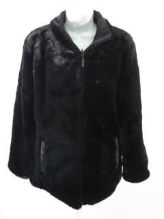 CALVIN KLEIN Black Faux Fur Nylon Reversible Jacket XS