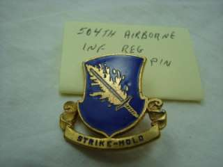 Airborne Infantry Regiment Pin Crest DI DUI ,STRIKE HOLD