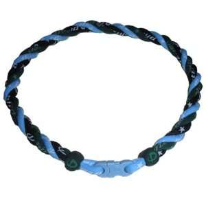 Braid Necklace with Forest Green Trim and Light Blue Clasp 16 Sports