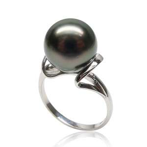SALEAAA 10.8MM GREEN TAHITIAN PEARL 14K GOLD RING NATURAL PEARL 6