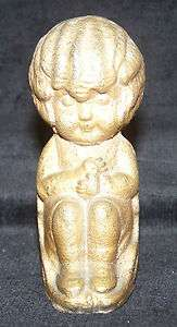 Kate Greenaway Gold Colored Metal Bookend Statue Antique EXC RARE