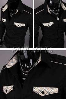 PJ Mens Casual Luxury Stylish Casual Dress Slim fit Shirts Color Black
