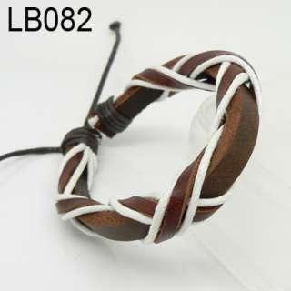 New Charm Braided Genuine Leather Bracelets Wristband Surfer Cuff