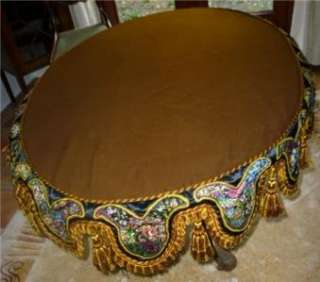 ANTIQUE SUPERB EMBROIDERED TABLE COVER FLORA FRUITS BUTRFLY SILK